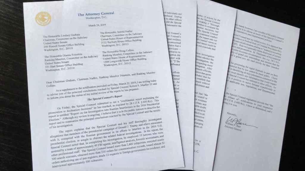 Carta del Procurador General, William Barr, a los líderes del Congreso sobre las conclusiones del informe.