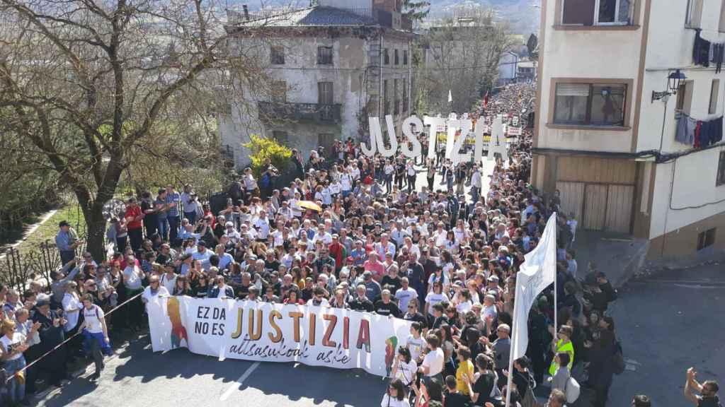 Manifestación en Alsasua en protesta por la sentencia de la Audiencia.