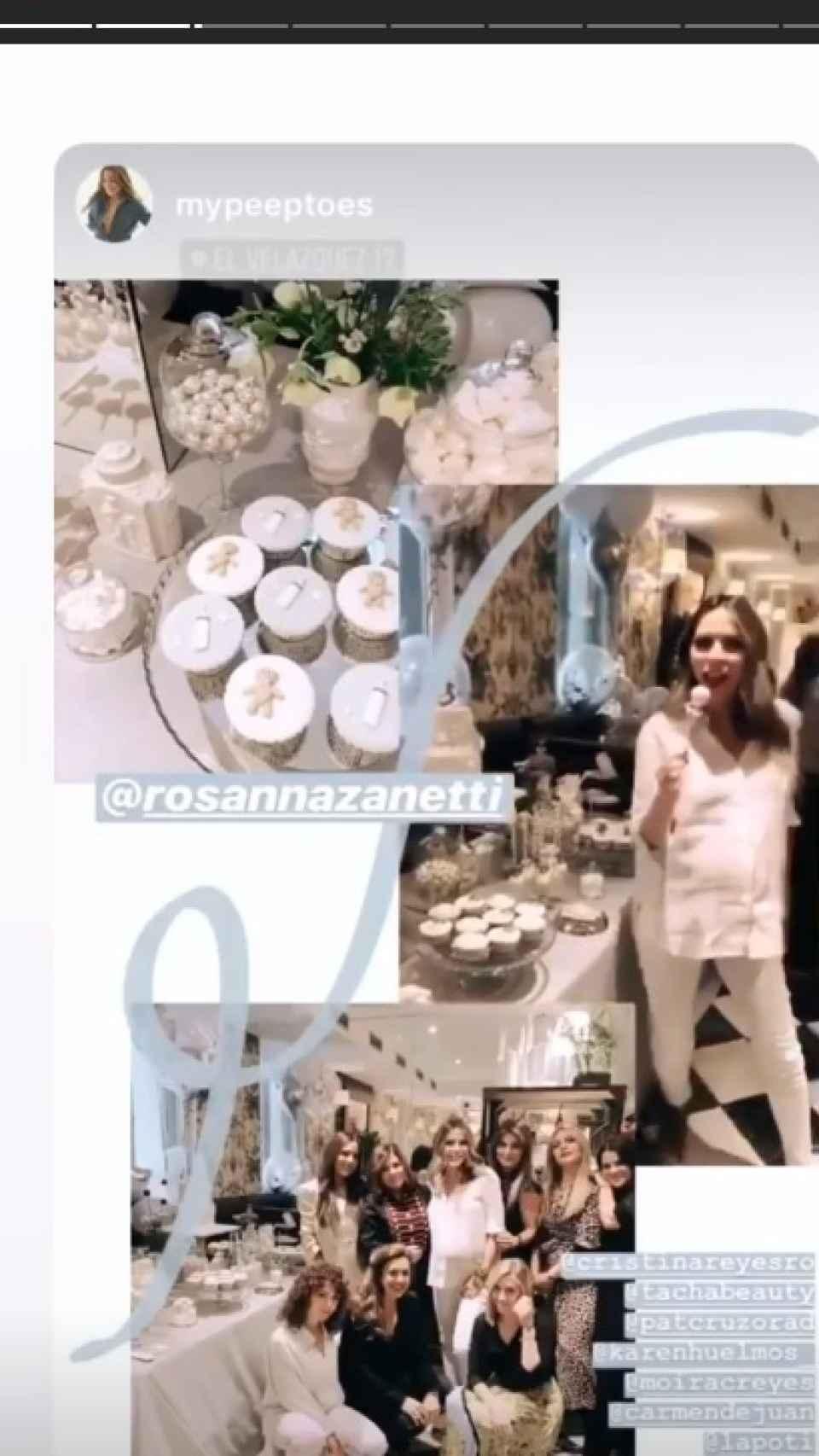 Instagram Stories de Rosanna Zanetti en un 'baby shower'.