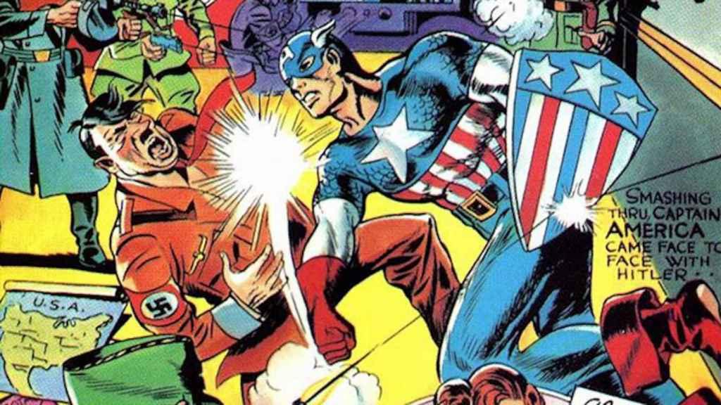 Fragmento de la portada del Nº 1 de Capitán América (1941).