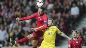Cristiano Ronaldo, en un momento del partido ante Ucrania
