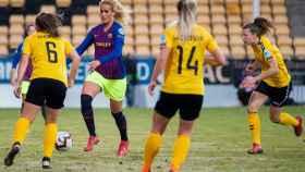 Kheira Hamraoui, en el LSK Kvinner - Barcelona de la Women's Champions League. Foto: Twitter (@FCBfemeni)
