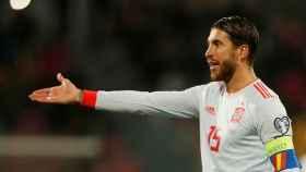 Sergio Ramos, durante un partido de la selección española