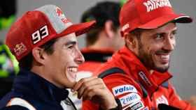Márquez y Dovizioso, durante la conferencia de prensa del Gran Premio de Argentina.