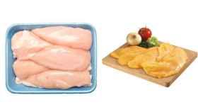 Pechuga de pollo rosada y filetes de pollo amarillentos