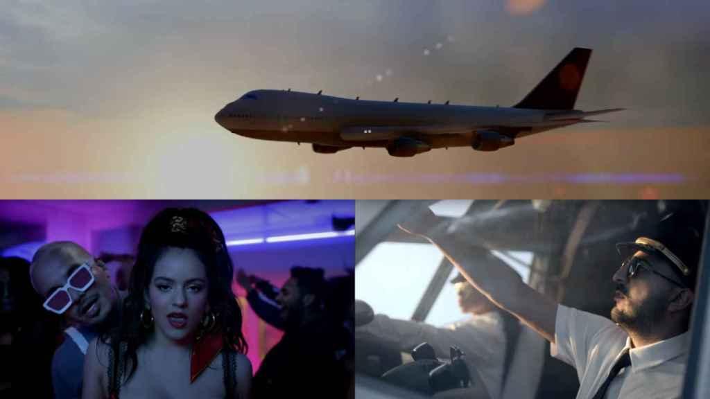De arriba, abajo y de izquierda a derecha, frames del 747, J Balvin y Rosalia y el Guincho en el videoclip de 'Con Altura'.