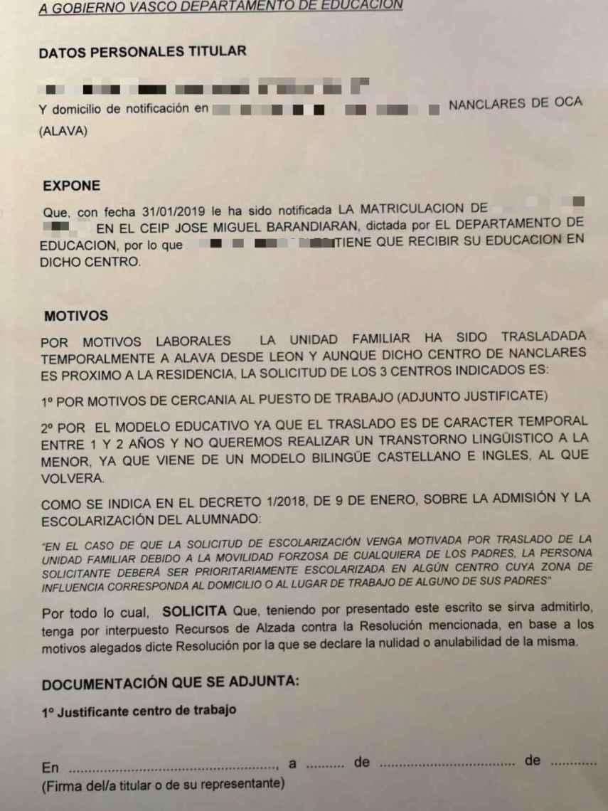 Recurso presentado por la familia contra la obligación de matricular a la niña en el centro.