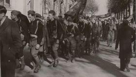 Llegada de voluntarios americanos de las Brigadas Internacionales a Barcelona