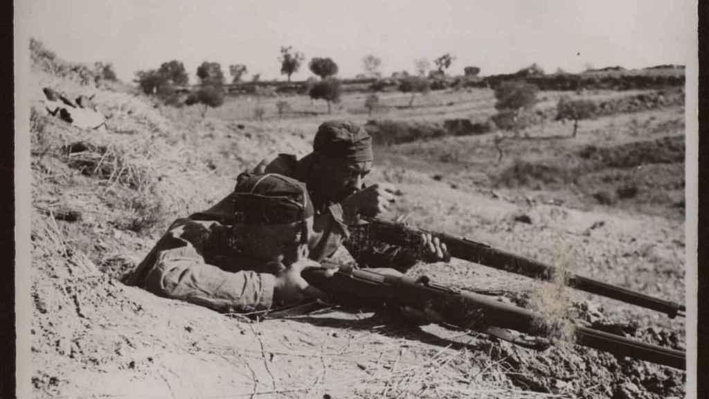 Milicianos republicanos en el frente de Aragón