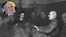 Reunión del general Miaja con sus colaboradores durante la guerra. A la izquierda, el entrevistado.
