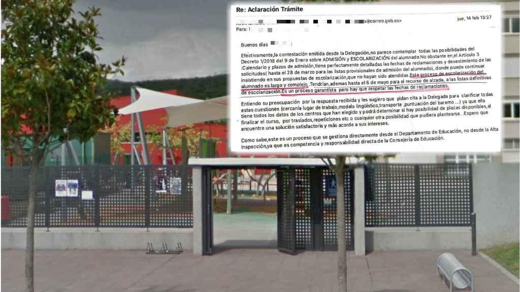 Colegio José Miguel de Barandiaran (Vitoria) y respuesta de la consejería de Educación vasca.