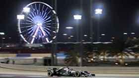 Hamilton, durante un momento del GP de Bahréin