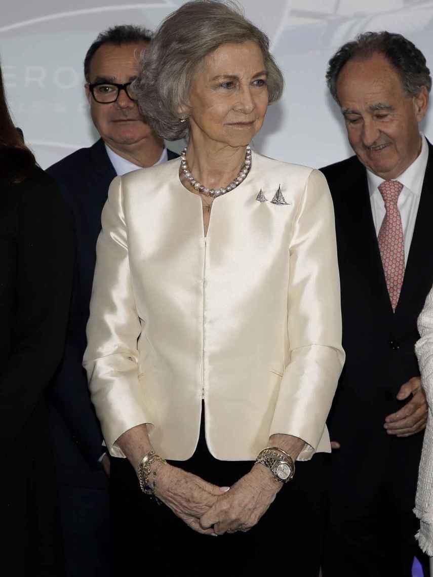 La reina Sofía durante el 50 aniversario de la gala de vela Princesa Sofía.