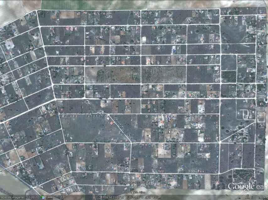 Imagen aérea de la urbanización. El área es mucho más grande que la del propio pueblo.