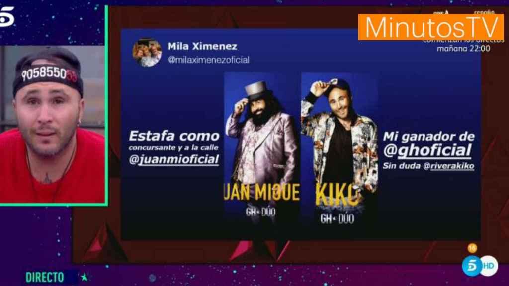 Kiko Rivera leyendo el mensaje de apoyo de Mila en 'GH DÚO'.