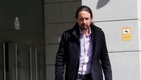 Pablo Iglesias, saliendo de prestar declaración en la Audiencia Nacional.