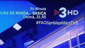 Uno de los rótulos difundidos en el programa de TV3