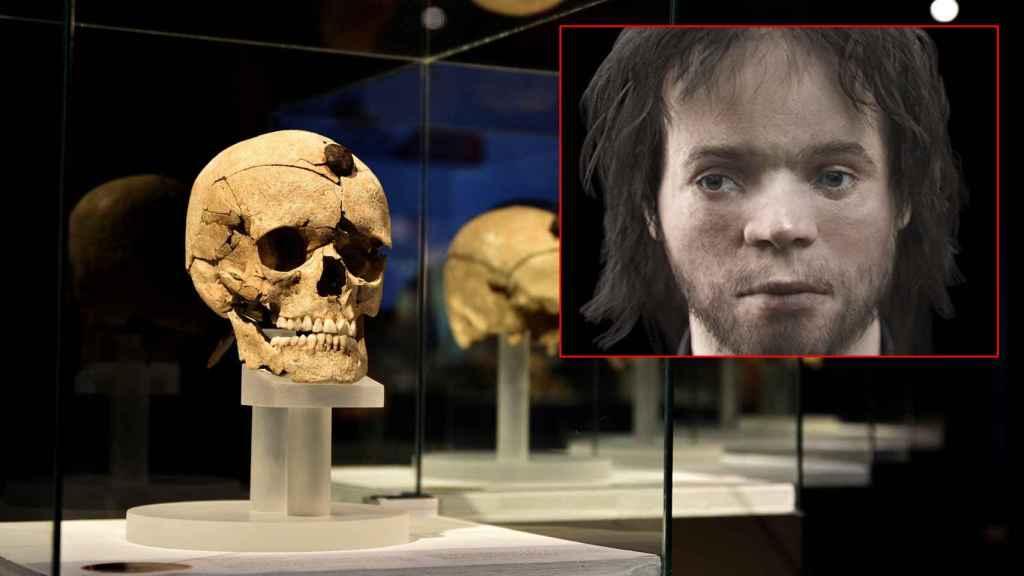 El cráneo de un guerrero íbero y la reconstrucción de su rostro.