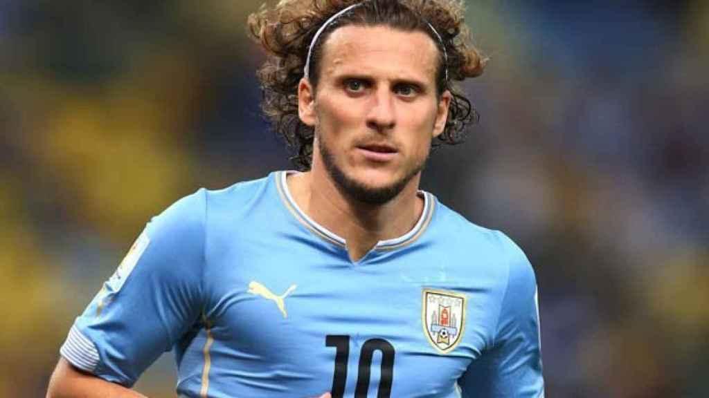 Diego Forlán, en un partido de Uruguay
