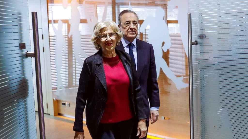 Florentino Pérez y Manuela Carmena, en la presentación del nuevo estadio Santiago Bernabéu