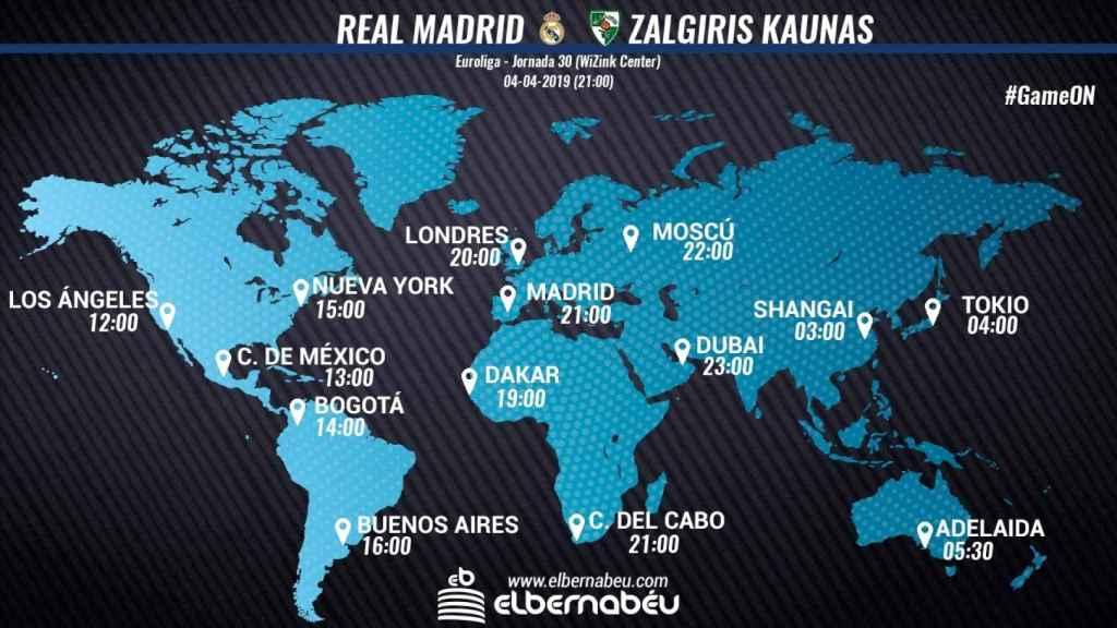 Horario Real Madrid - Zalgiris Kaunas