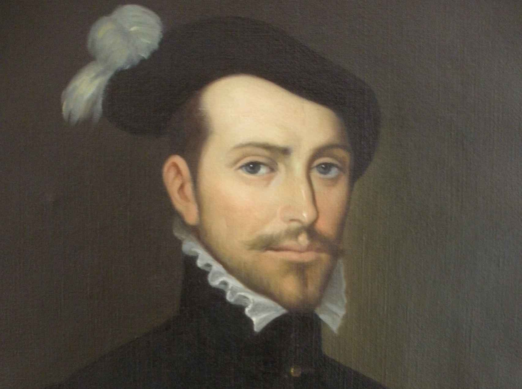 Retrato de Hernán Cortés, pintado por Juan Aparicio Quintana, en el Ayuntamiento de Medellín.