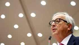 El presidente Jean-Claude Juncker, durante su intervención ante la Eurocámara