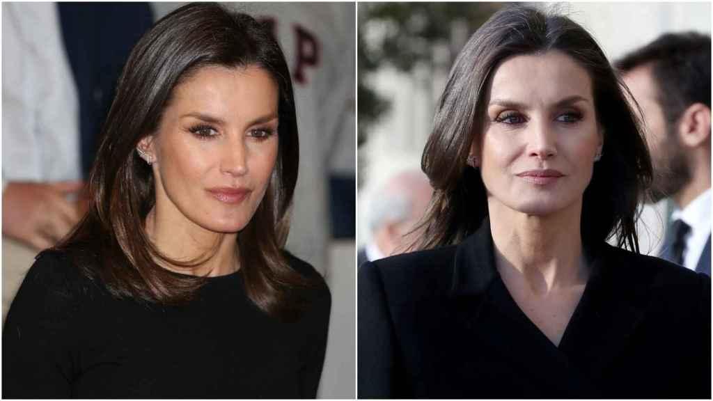 A la derecha, la reina Letizia en un acto institucional el jueves por la mañana. A la izquierda, en la misa funeral en recuerdo a Pérez-Llorca.