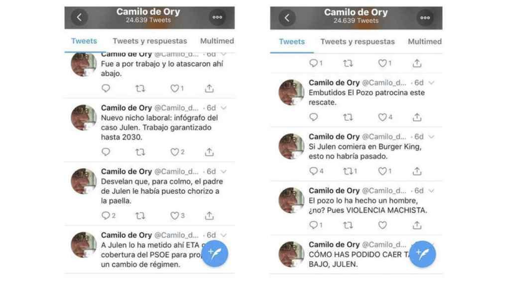 Tuits de Camilo de Ory sobre Julen.