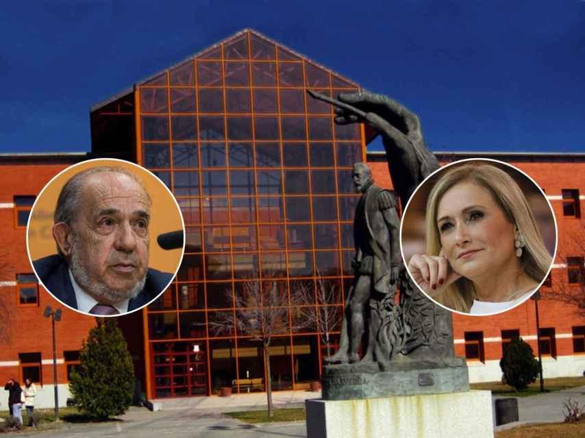 Enrique Álvarez Conde y Cristina Cifuentes, sobre una imagen del campus de Vicálvaro de la URJC
