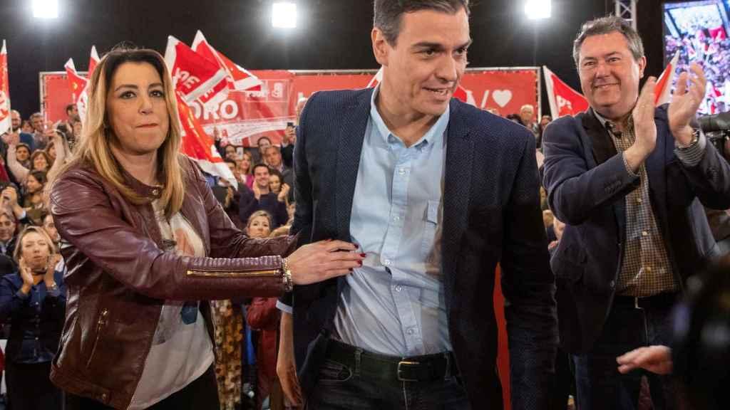 Susana Díaz y Pedro Sánchez, de mitin en Sevilla.