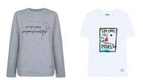 Una sudadera y una camiseta de la colección conjunta de Cortefiel y Fundación Cadete.