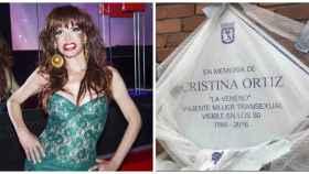 Cristina La Veneno junto a su placa en montaje JALEOS.