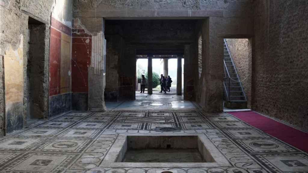 Un mosaico hallado en Pompeya.