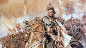 Un cuadro de Casimir Pulaski montando a caballo, obra de Juliusz Kossak.