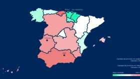 Mapa de satisfacción ciudadana por comunidades autónomas.