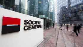 Rótulo a la entrada de unas oficinas de Société Générale.