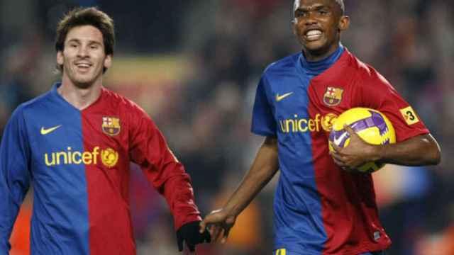 Eto'o y Messi en un partido con el FC Barcelona