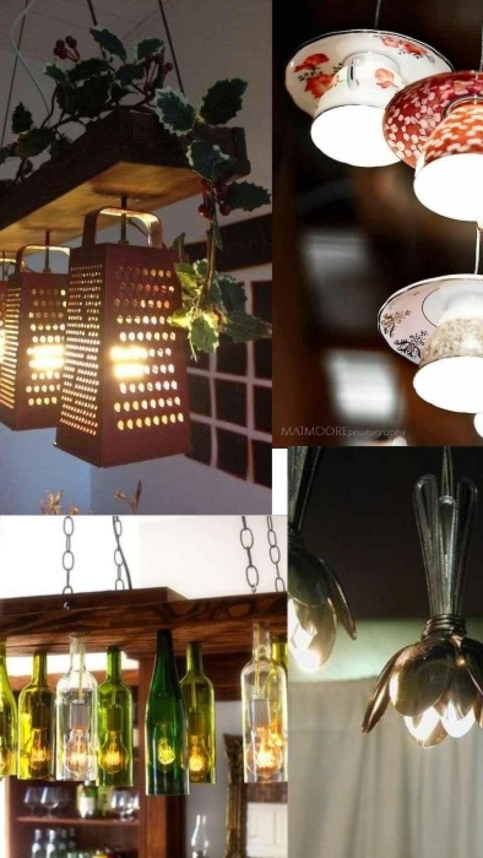 Lámparas con diferentes utensilios de cocina