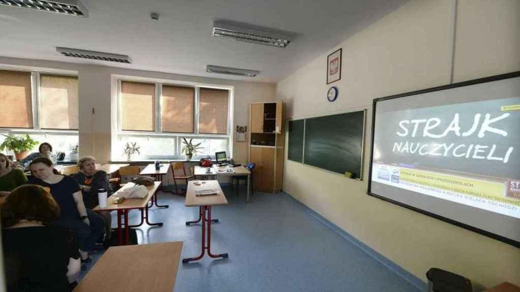 Un aula de un colegio de Polonia.