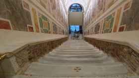 Imagen de la Escalera Santa durante las obras de reparación.