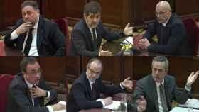 Oriol Junqueras, Jordi Sànchez, Raül Romeva, Josep Rull, Jordi Turull y Joaquim Forn.