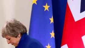 Theresa May a la salida de la reunión de la UE sobre el 'brexit'.