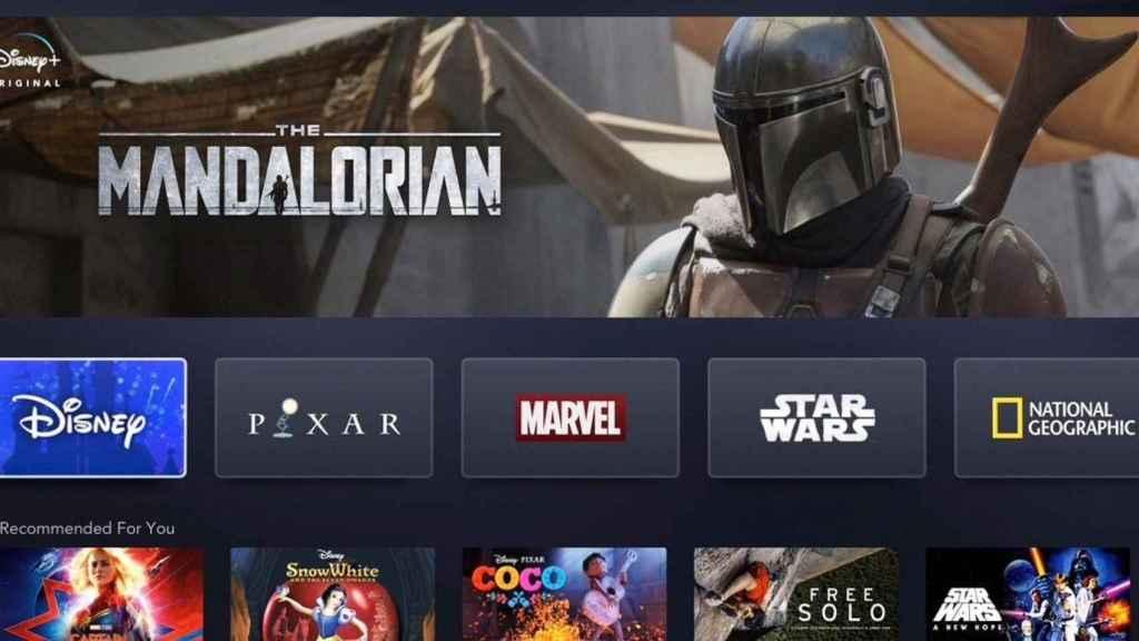 Interfaz de Disney+ y anuncio de su serie sobre Star Wars.