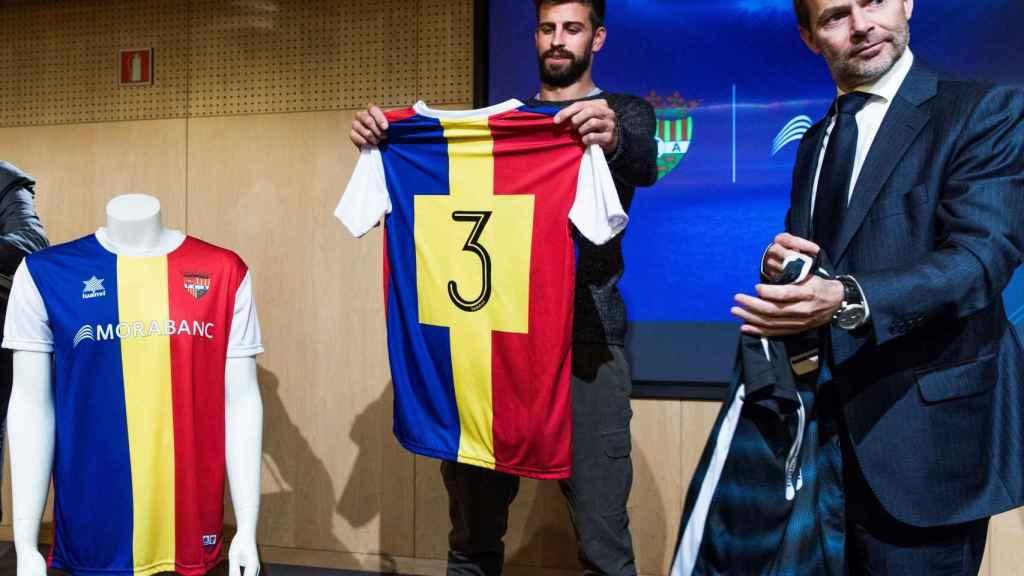 Gerard Piqué, con la camiseta del Andorra