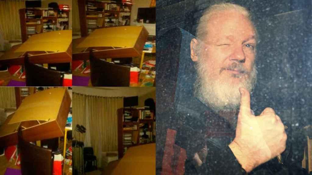 La habitación de Assange, destrozada tras uno de sus episodios violentos