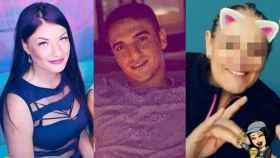 De izquierda a derecha: Nelea, su asesino confeso Adrián y la madre de él, Mariana.