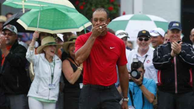 Tiger Woods, emocionado en Augusta
