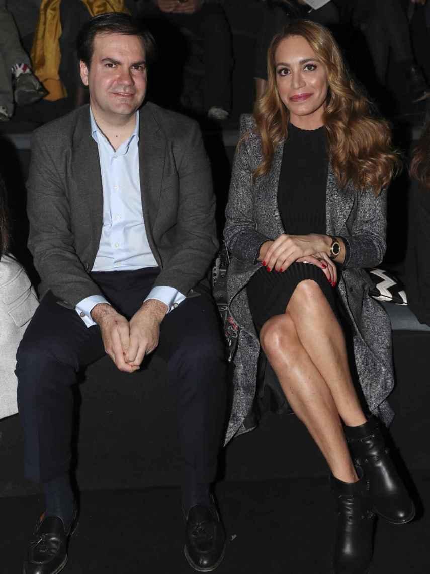 Juan Díaz y su esposa, Gema Ruiz, en la Madrid Fashion Week 2019.