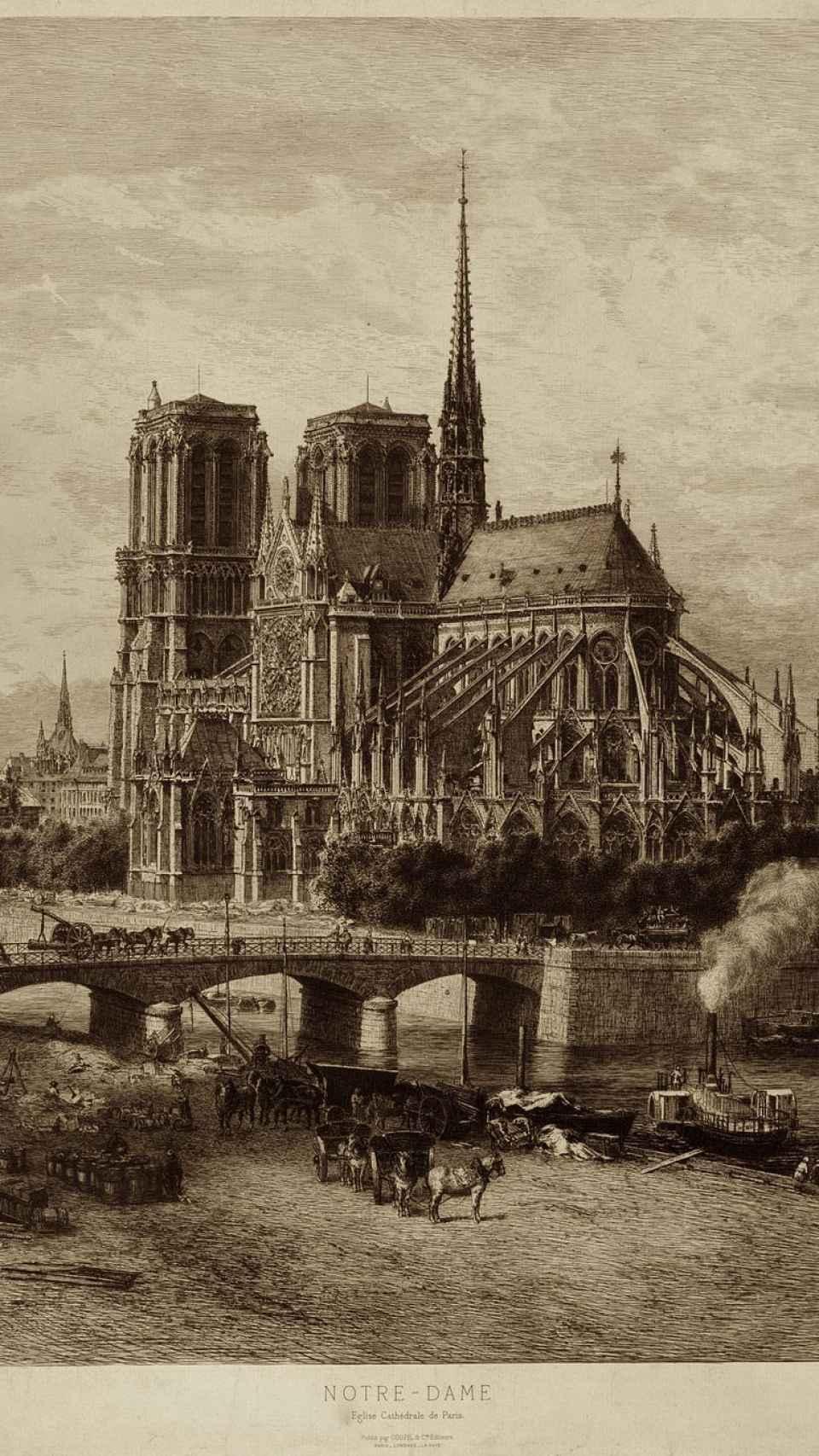 Grabado de la catedral de Notre Dame.